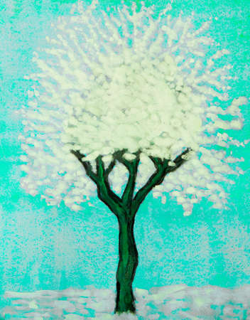 gouache: White tree on blue background, painting, watercolour and white gouache.