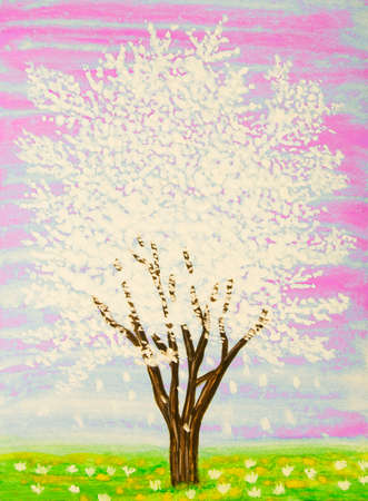 fine art painting: White tree in blossom, painting, gouache.