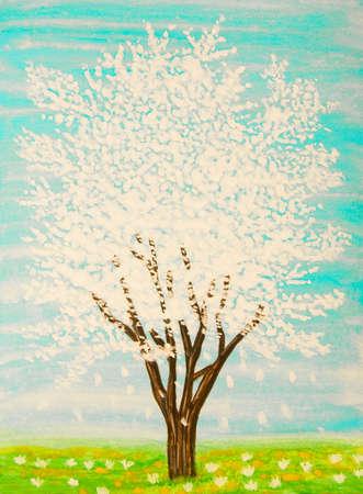 gouache: White tree in blossom on turguoise sky, painting, gouache. Stock Photo