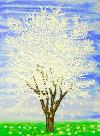 gouache: White tree in blossom on blue sky, painting, gouache.