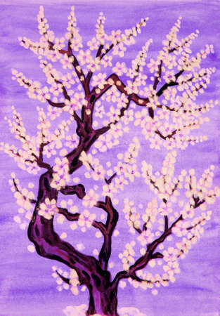 traditions: White tree in blossom, in traditions of old Chinese paiinting, gouache on watercolour background.