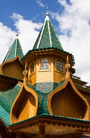 Russian palace: Moscow, detail of wooden palace of Russian kings in mansion Kolomenskoye, 16 century, reconstruction.