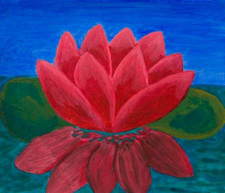 crimson: Crimson waterlily, oil painting. Stock Photo