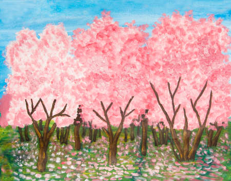 acryl: Garden iin blossom n spring in pink colours, oil painting with acryl.