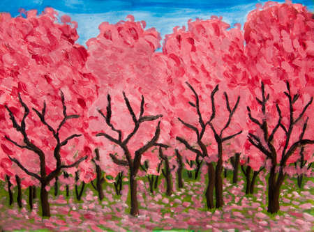 raspberry pink: Spring garden in blossom in crimson colours, oil painting on acryl background. Stock Photo