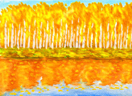 water reflection: Hand painted picture, watercolours - autumn landscape, yellow-orange birch forest with reflection in water. Stock Photo