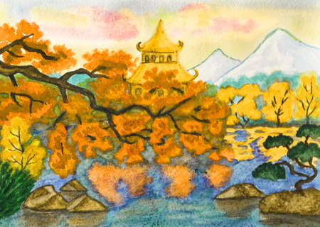 japanese garden: Hand painted picture, watercoours - Autumn landscape: Japanese garden with pagoda and mountains.