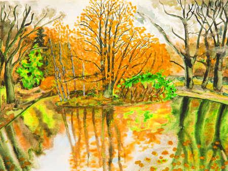 fall landscape: Hand drawn picture in watercolours, autumn landscape. Stock Photo