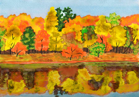 water reflection: Hand painted picture, watercolours - autumn landscape, forest with reflection in water. Stock Photo