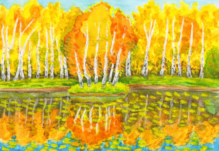 Hand painted picture, watercolours - autumn landscape, yellow birch forest with reflection in water and little island with birches. Painted from real landscape in park Sokolniki in Moscow. Size of original  28 x 19 sm.