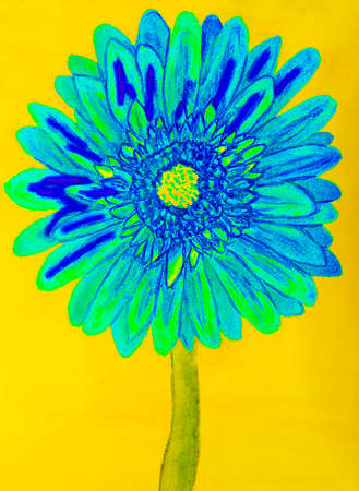 Blue gervera flower on yellow background, painting in watercolours