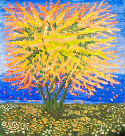 Yellow tree on sea shore, oil painting.