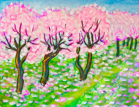 Hand painted illustration - spring landscape pink cherry garden in blossom. Size of original 29,5 x 20,5 sm. Stock Photo