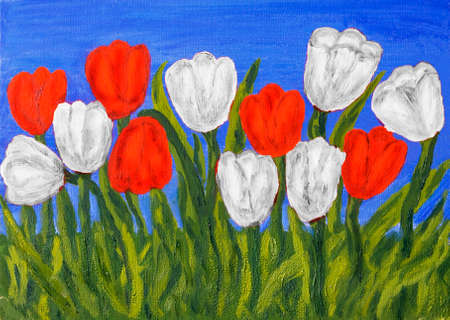 25 35: Hand painted picture, oil painting, red tulips on blue sky. Size of original 35 x 25 sm. Stock Photo