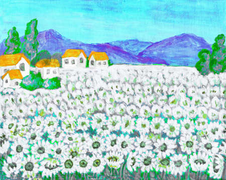 field of daisies: Hand painted picture, acrylic, summer landscape field with camomiles (ox-eye daisies).