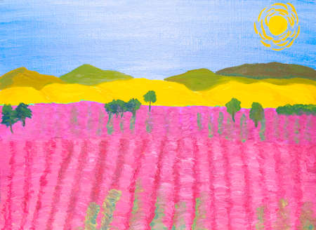 pink hills: Landscape with pink field of rose-bay and yellow hills, oil painting.