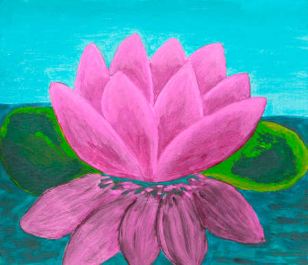 Pink waterlily, oil painting. Stock Photo