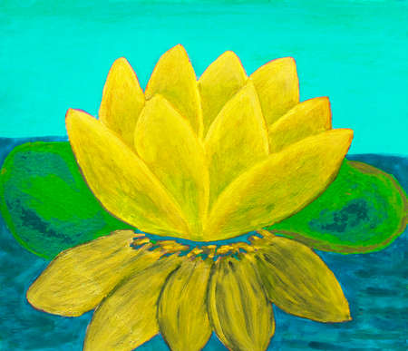 waterlily: Yellow waterlily, oil painting. Stock Photo
