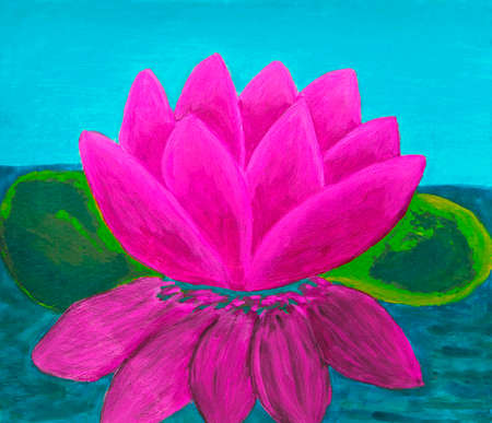 waterlily: Pink waterlily, oil painting. Stock Photo
