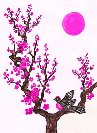 Bird on branch with pink flowers on white background, vertical, hand painted picture, watercolours, in traditions of old Chinese painting. Size of original 29,5 x 21 sm.