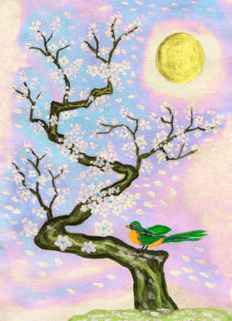 traditions: Bird on branch with white flowers, hand painted picture, watercolours and acrylic, in traditions of old Chinese art.