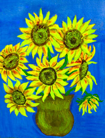 Hand painted illustration, oil painting, bouquet of sunflowers. Size of original 35 x 24,5 sm.