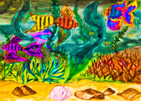 water s: Hand painted picture, watercolor, fishes and marine plants in water. S Stock Photo