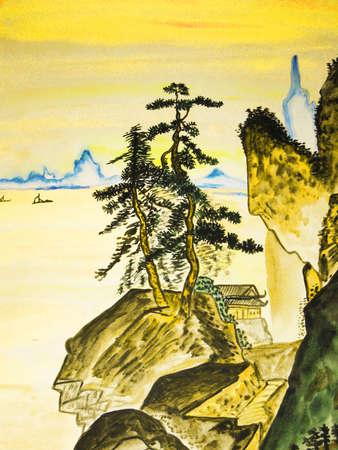 오래 된 중국 예술, 수채화의 전통에 손으로 그린 그림.