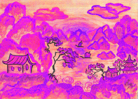pink hills: Landscape in traditions of old Chinese art, in pink colors, hand painted picture, watercolors. Stock Photo
