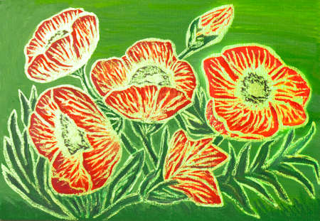 visual art: Red poppies with golden lines on green background, oil painting with golden gouache, luminescent paint with shining glossy effect.