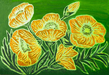 few: Orange poppies with golden lines on green background, oil painting with golden gouache, luminescent paint with shining glossy effect. Stock Photo