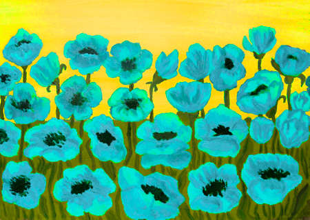yellow sky: Many blue poppies on yellow sky, oil painting.