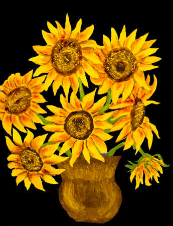Hand painted illustration, oil painting, bouquet of sunflowers. Stock Photo