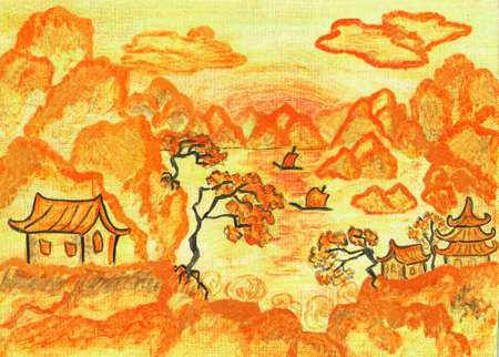 traditions: Landscape in traditions of old Chinese art, in orange and yellow colours, hand painted picture, watercolours.