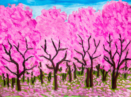 Spring garden in blossom in pink colours, oil painting on acryl background.