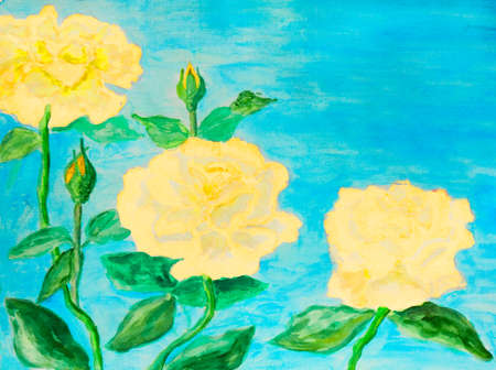 sm: Hand painted picture, watercolours - three roses of yellow colour. Size of original 40 x 30 sm. Stock Photo