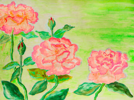 fine art painting: Hand painted picture, watercolours - three roses of pink colour.