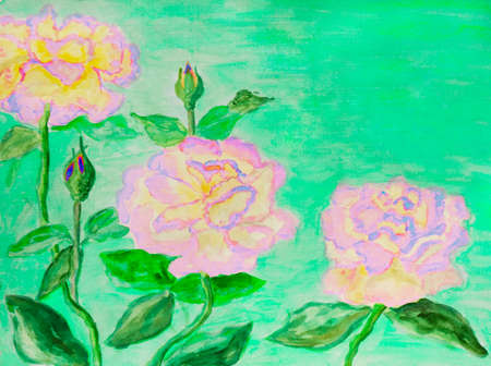 visual art: Hand painted picture, watercolors - three roses of pink colour.