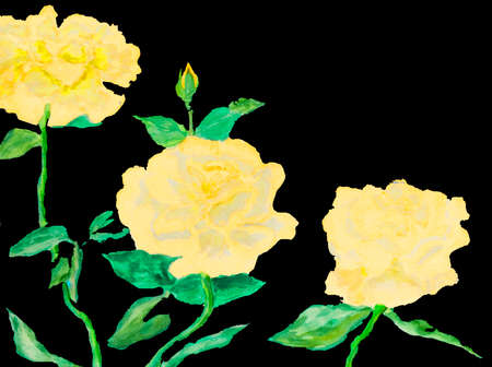 Hand painted picture, watercolours - three roses of pink colour. Size of original 40 x 30 sm.