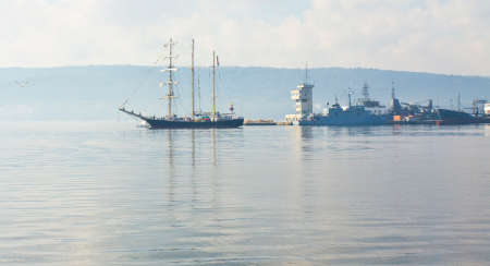 VARNA, BULGARIA - OCTOBER 1, 2016:  opening of Black Sea Tall Ships Regatta, sailing ships of different countries arrive in port of town Varna.