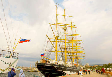 VARNA, BULGARIA - OCTOBER 4, 2016: Black Sea Tall Ships Regatta, sailing ships from different countries on international regatta, sailing ship Kruzenshtern from Russia.