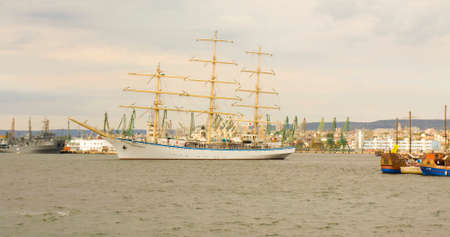 VARNA, BULGARIA - OCTOBER 4, 2016: Black Sea Tall Ships Regatta, sailing ships from different countries on international regatta, Russian ship Mir (Peace).