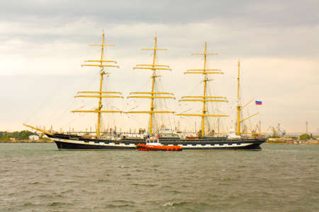 VARNA, BULGARIA - OCTOBER 4, 2016: Black Sea Tall Ships Regatta, sailing ships from different countries on international regata, Russian ship Kruzenshtern. Editorial