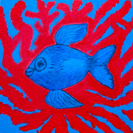 Painting illustration, acrylic, blue fish and red corals in water.