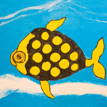 Painting illustration, acrylic, fish in yellow and black colours on blue.
