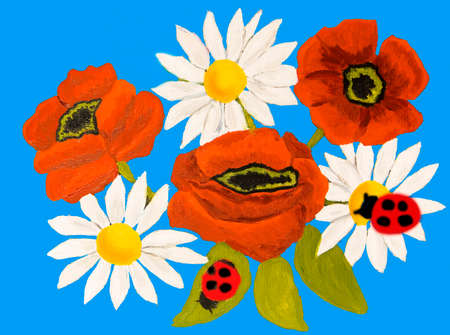 ox eye: Red poppies and camomiles ox-eye daisy on blue background, oil painting. Stock Photo