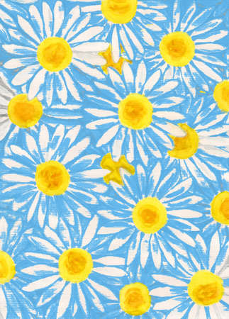 oxeye: White camomiles ox-eye daisy on blue, illustration. Stock Photo