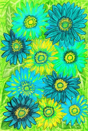gerbera: Background from green gerbera flowers, painting, watercolours