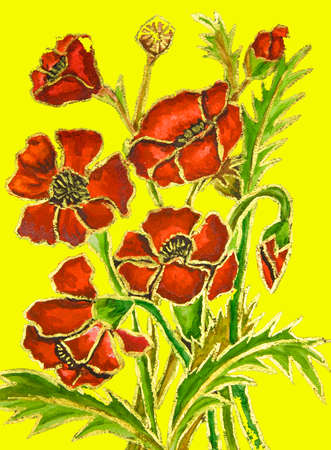 Poppies on yellow background, painted illustration, watercolour and gouache. Stock Photo