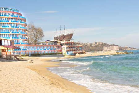 SAINT CONSTANTINE AND HELEN, BULGARIA - APRIL 04, 2015: beach and hotel Azalia. Saint Constantine and Helen is the oldest first sea resort of Bulgaria, exists from 19 century.